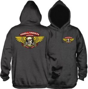 POWELL PERALTA WINGED RIPPER HOODIE SWEATSHIRT S-CHARCOAL