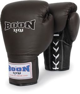 Boon Sports Leather Lace Muay Thai Training Gloves