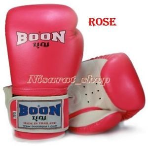 BOON SPORTS BOXING GLOVES RED ROSE  16 OZ  MUAY THAI FIGHTING GENUINE LEATHER