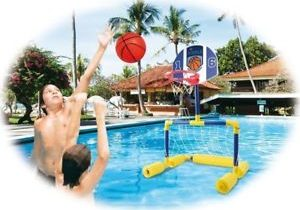 Inflatable Swim Above Ground Pool Basketball Hoop Soccer Goal Toy for Kid Game
