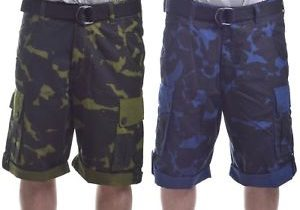 Rocawear Mens 5 Boro Camo Ripstop W/Belt Cargo Shorts Choose Color …